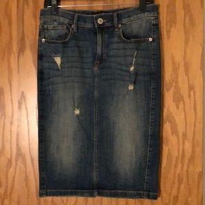 Deconstructed Denim Skirt (pencil/knee length)